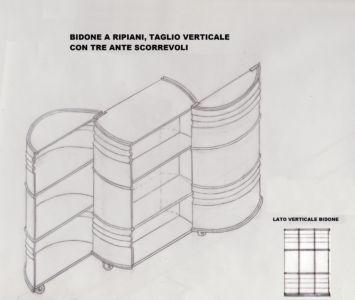 Disegno bidone a 3 sezioni verticali scorrevoli